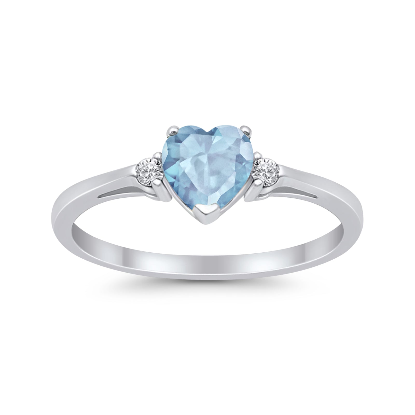 Heart Promise Engagement Ring Simulated Aquamarine CZ 925 Sterling Silver