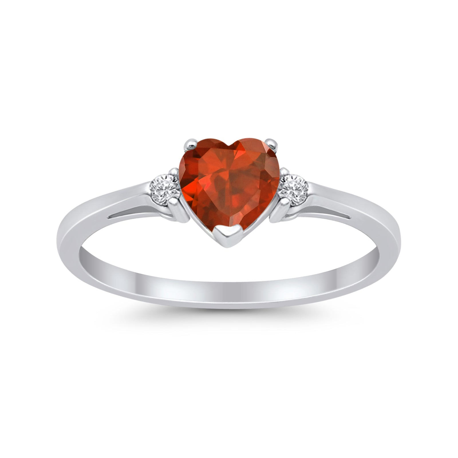 Heart Promise Engagement Ring Simulated Garnet CZ 925 Sterling Silver