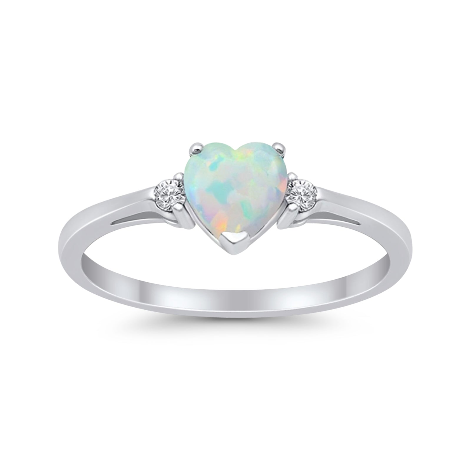 Heart Promise Engagement Ring Lab Created White Opal 925 Sterling Silver