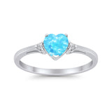 Heart Promise Engagement Ring Lab Created Light Blue Opal 925 Sterling Silver
