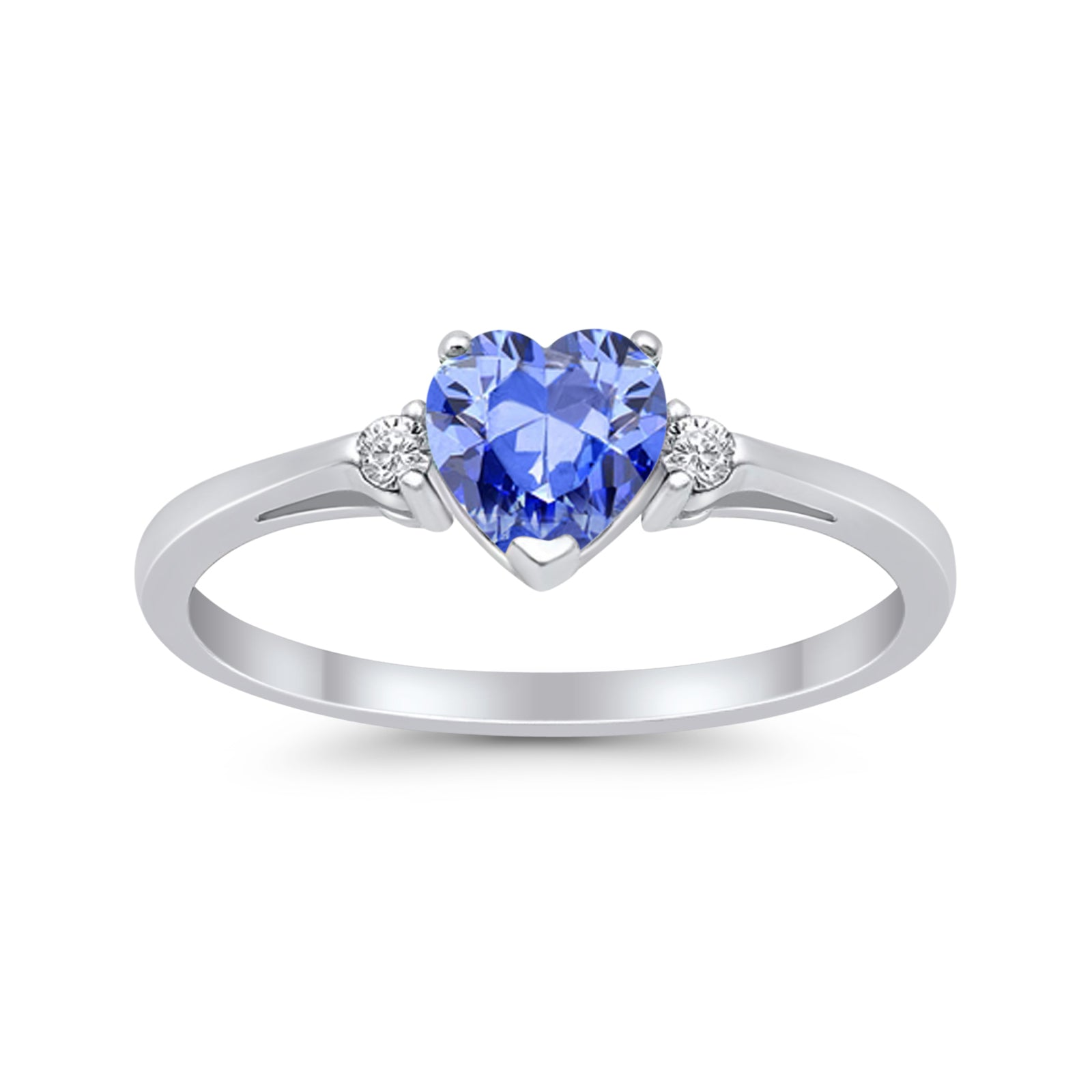 Heart Promise Engagement Ring Simulated Tanzanite CZ 925 Sterling Silver