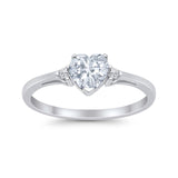 Heart Promise Ring Wedding Engagement Simulated CZ 925 Sterling Silver