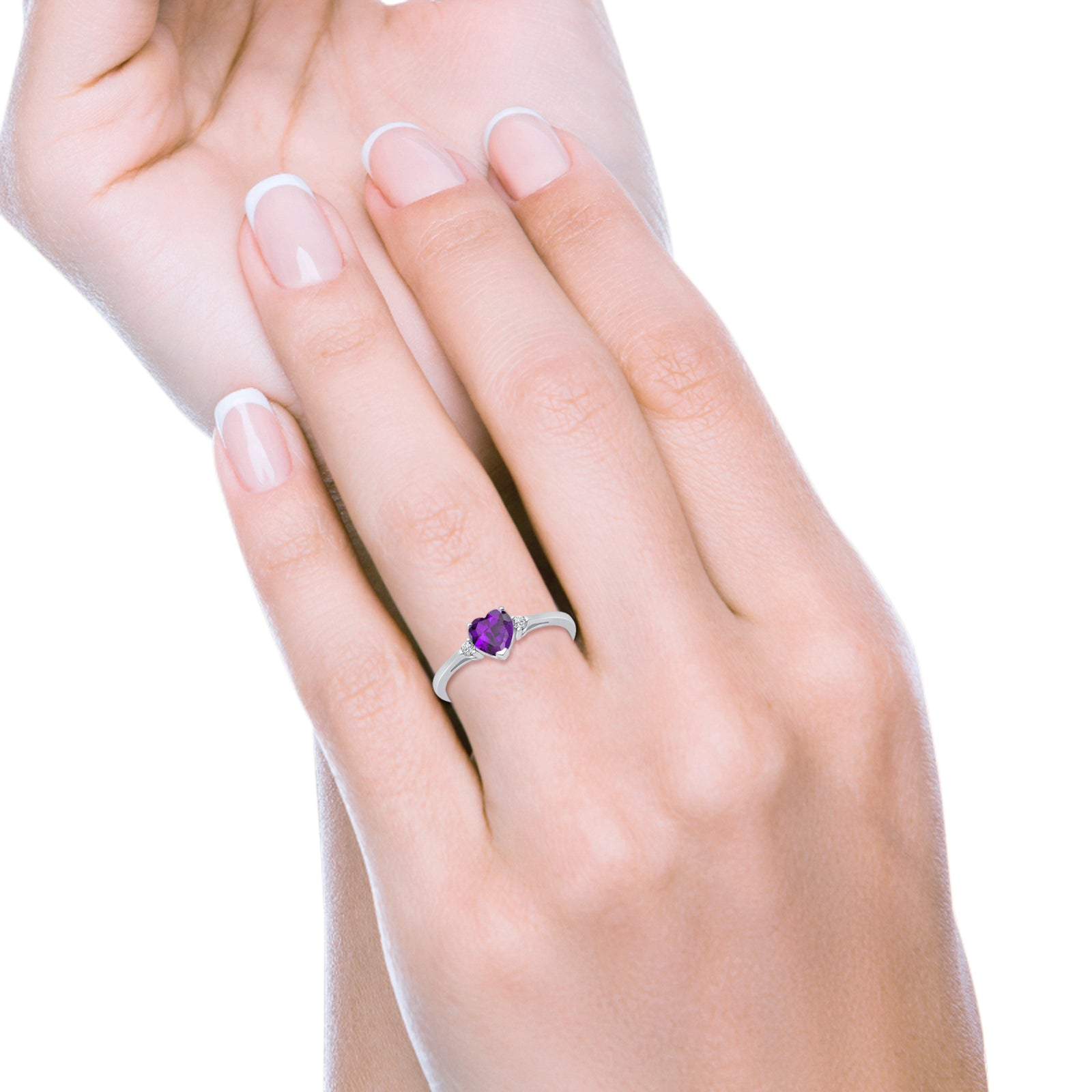 Heart Promise Engagement Ring Simulated Amethyst CZ 925 Sterling Silver