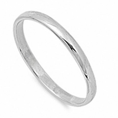 SOLID 2MM ROUND PLAIN .925 STERLING SILVER WEDDING BAND SIZES 2-12