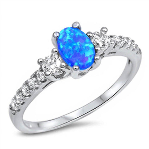 3 Stone Wedding Engagement Ring Oval Cut Lab Blue Opal Round CZ 925 Sterling Silver