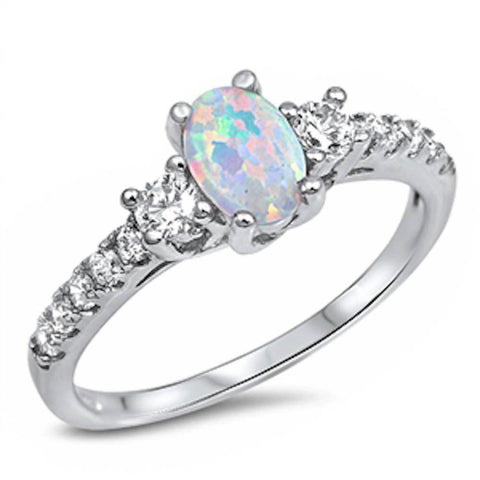 3 Stone Wedding Engagement Ring Oval Cut Lab White Opal Round CZ 925 Sterling Silver