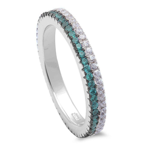 Eternity Stackable Band Round Simulated Aquamarine & Clear CZ 925 Sterling Silver