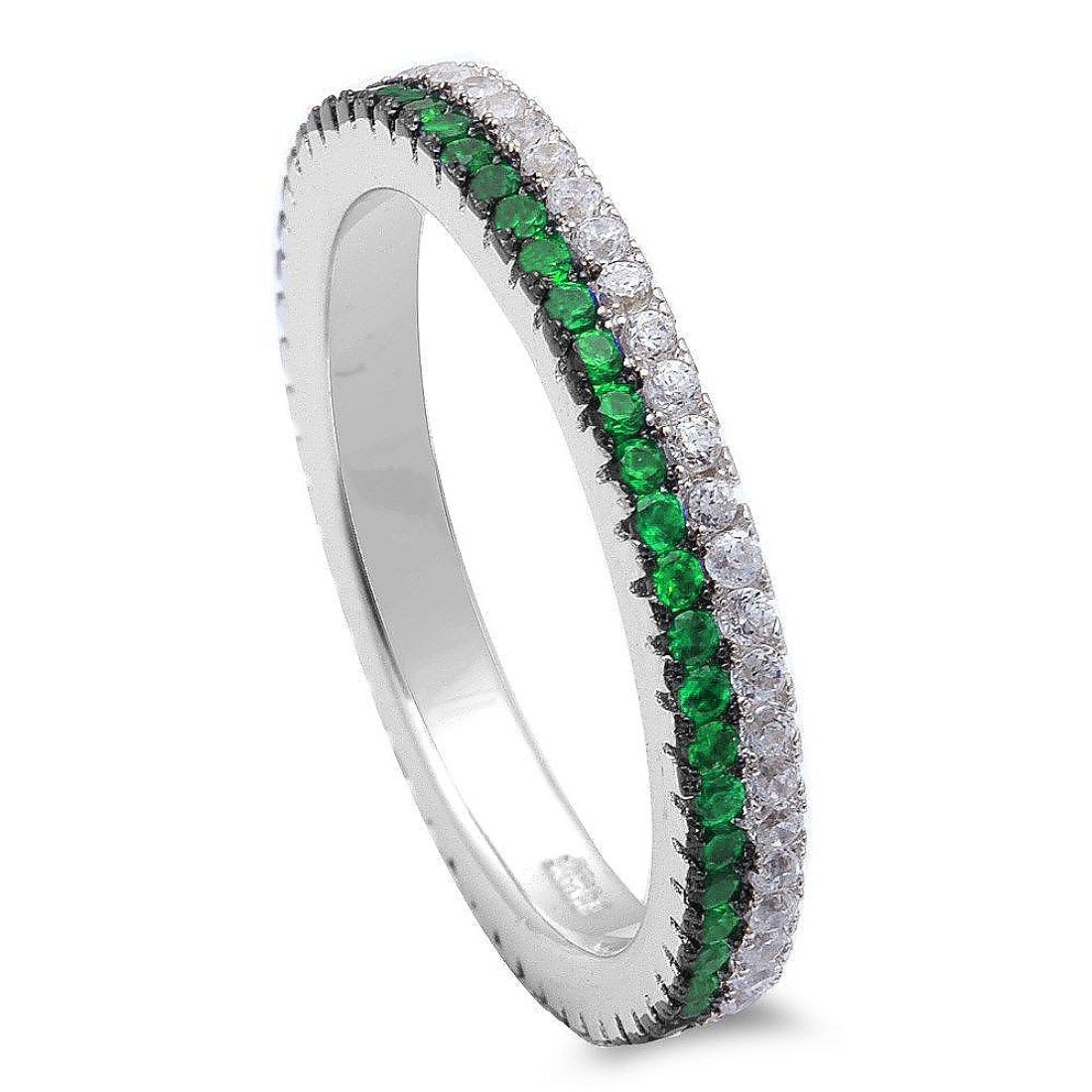 Eternity Stackable Band Round Simulated Green Emerald & Clear CZ 925 Sterling Silver