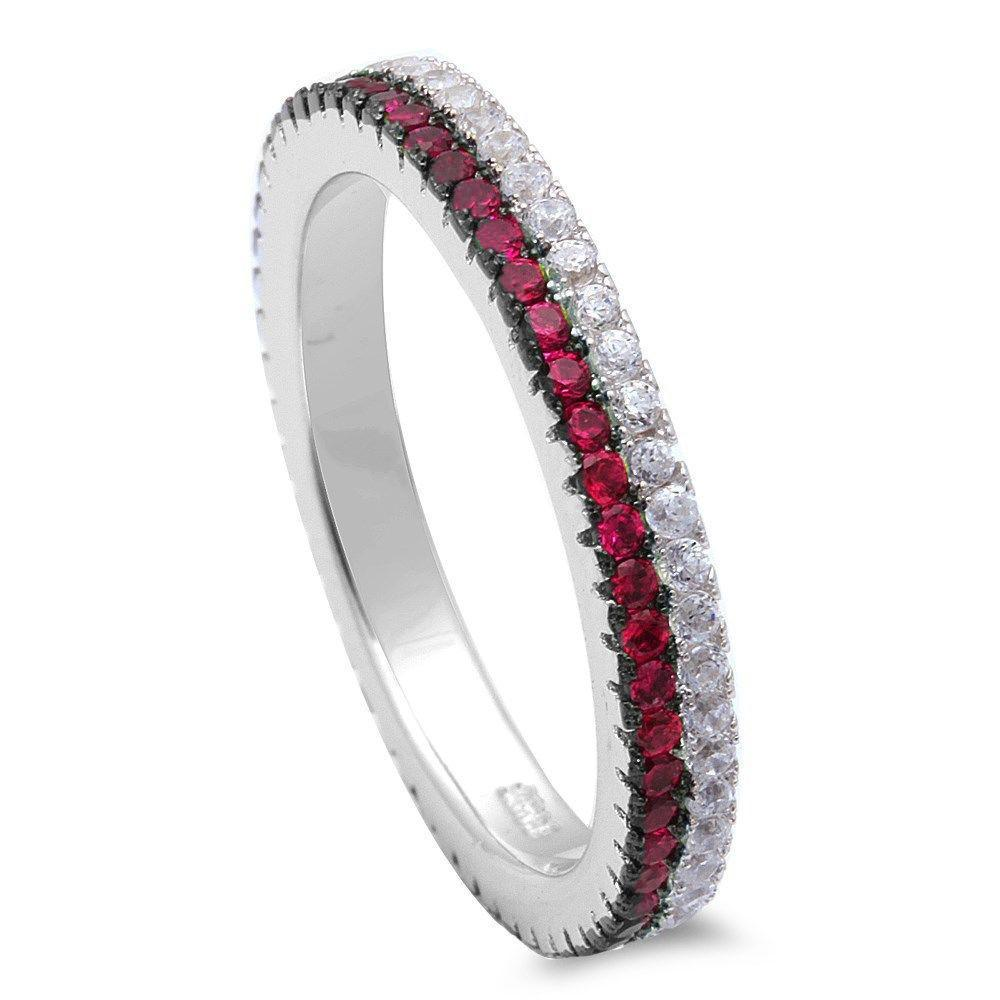 Eternity Rings Stackable Band Round Simulated Ruby & Clear CZ 925 Sterling Silver