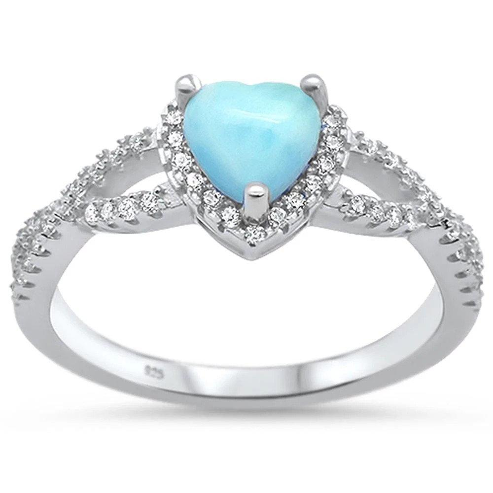 Halo Infinity Shank Heart Ring Simulated Larimar Round Clear CZ 925 Sterling Silver