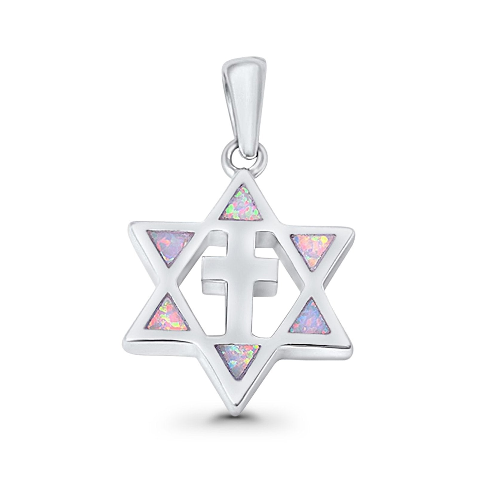 Cross Star of David Pendant Lab Created White Opal 925 Sterling Silver
