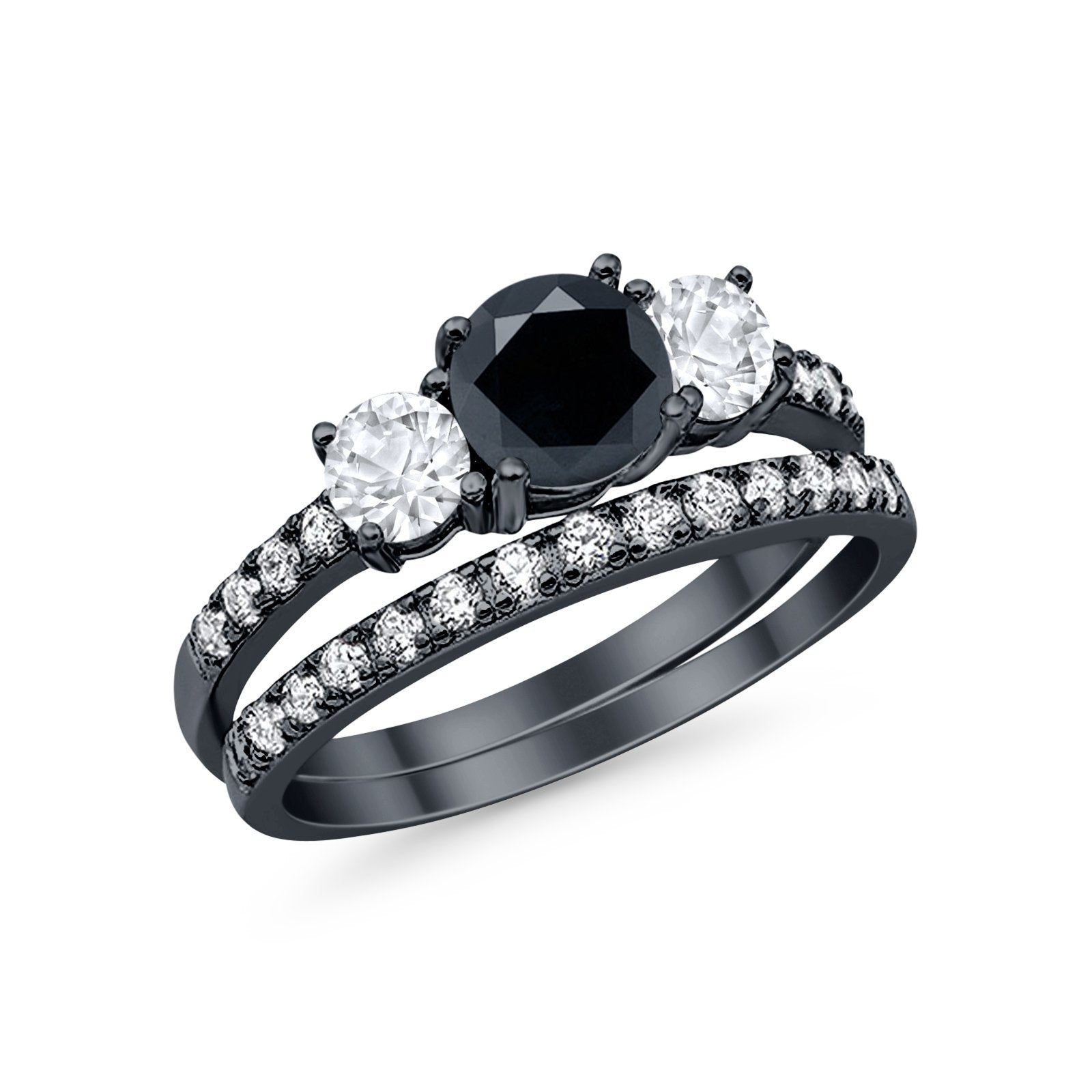 Wedding Piece Bridal Ring Black Tone, Simulated Black CZ 925 Sterling Silver