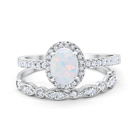 Halo 2-Piece Oval Lab White Opal Wedding Bridal Set Ring 925 Sterling Silver