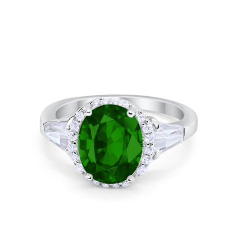 Oval Wedding Engagement Ring Baguette Round Simulated Green Emerald CZ 925 Sterling Silver