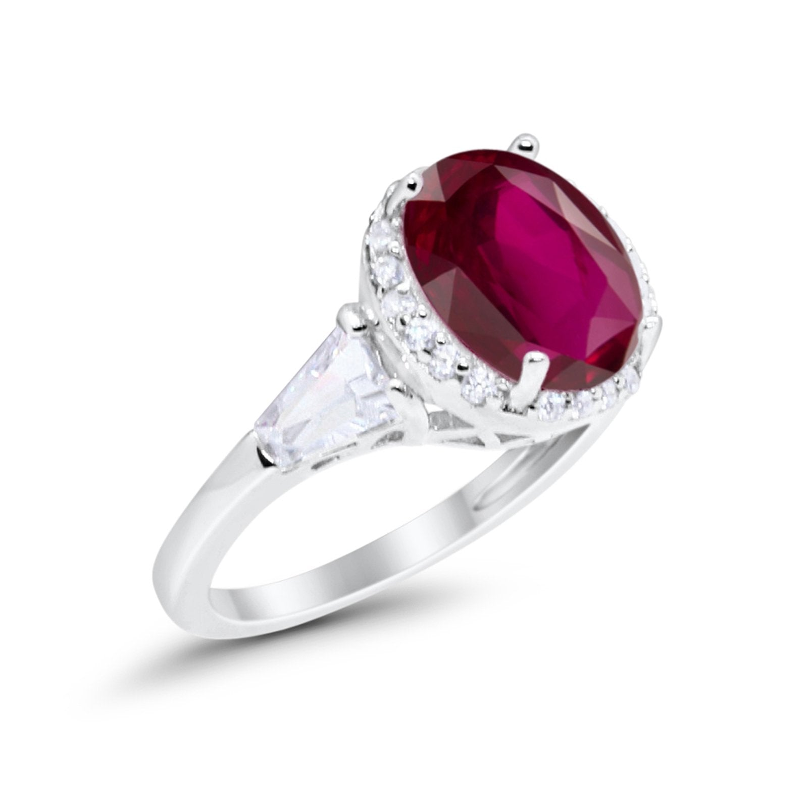 Oval Wedding Engagement Ring Baguette Round Simulated Ruby CZ 925 Sterling Silver