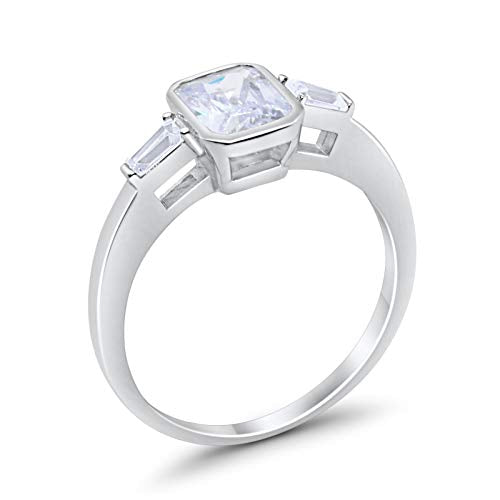 3-Stone Baguette Engagement Ring Simulated Cubic Zirconia 925 Sterling Silver