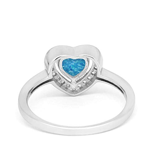 Halo Dazzling Heart Promise Ring Lab Created Blue Opal 925 Sterling Silver