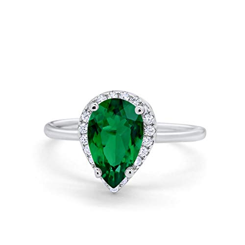 Halo Teardrop Wedding Ring Simulated Green Emerald CZ 925 Sterling Silver