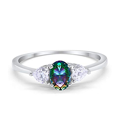 3-Stone Fashion Promise Ring Oval Simulated Rainbow Cubic Zirconia 925 Sterling Silver