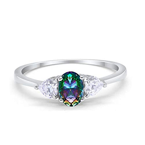3-Stone Fashion Promise Ring Oval Simulated Rainbow CZ 925 Sterling Silver