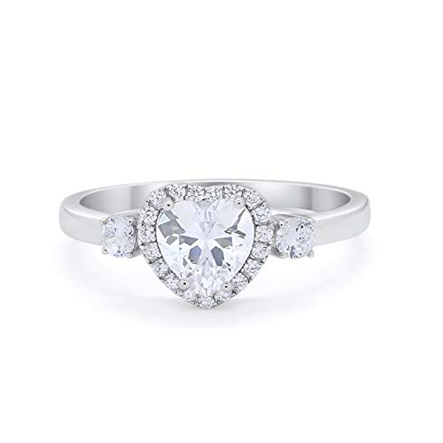 Three Stone Heart Promise Ring Simulated CZ 925 Sterling Silver
