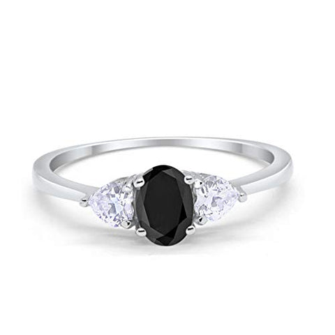 3-Stone Fashion Promise Ring Oval Simulated Black CZ 925 Sterling Silver