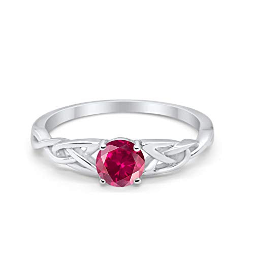 Celtic Trinity Wedding Ring Solid Simulated Ruby CZ 925 Sterling Silver