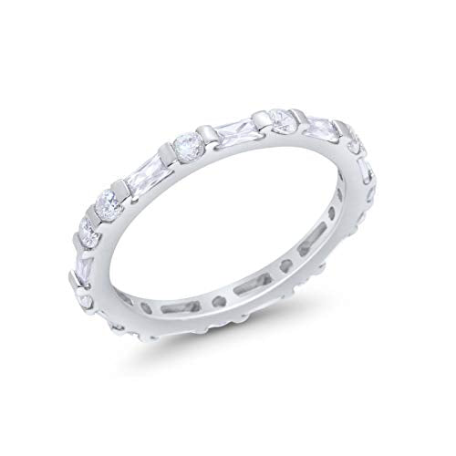 Art Deco Baguette Simulated Cubic Zirconia Wedding Ring 925 Sterling Silver