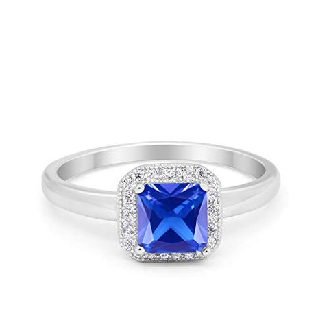 Halo Engagement Ring Princess Cut Simulated Tanzanite CZ 925 Sterling Silver