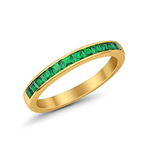 Half Eternity Band  Yellow Tone, Simulated Green Emerald CZ 925 Sterling Silver