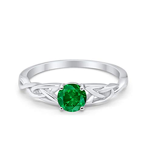 Celtic Trinity Engagement Ring Simulated Green Emerald CZ Solid 925 Sterling Silver