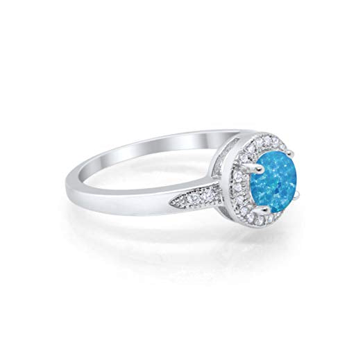 Halo Wedding Ring Round Lab Created Blue Opal 925 Sterling Silver