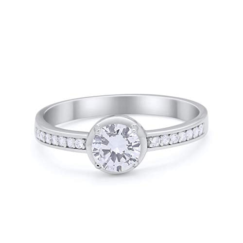 Solitaire Accent Wedding Ring Round Simulated CZ 925 Sterling Silver