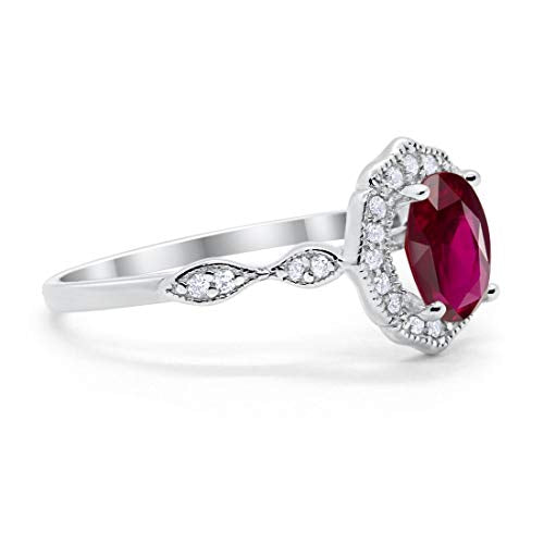 Antique Style Oval Engagement Ring Simulated Ruby CZ 925 Sterling Silver