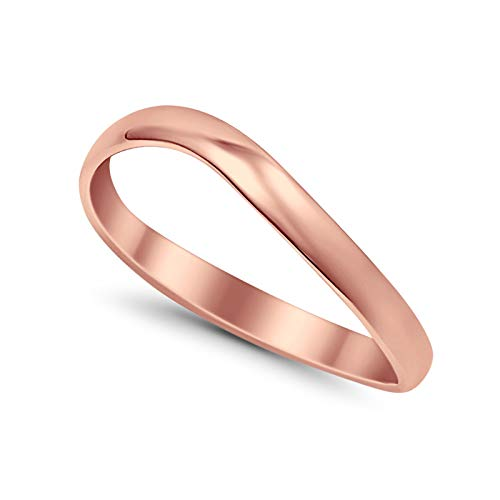 Thumb Curve Band Ring Rose Tone 925 Sterling Silver