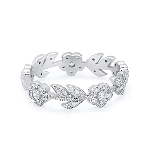 Leaf Design Ring Round Simulated Cubic Zirconia 925 Sterling Silver