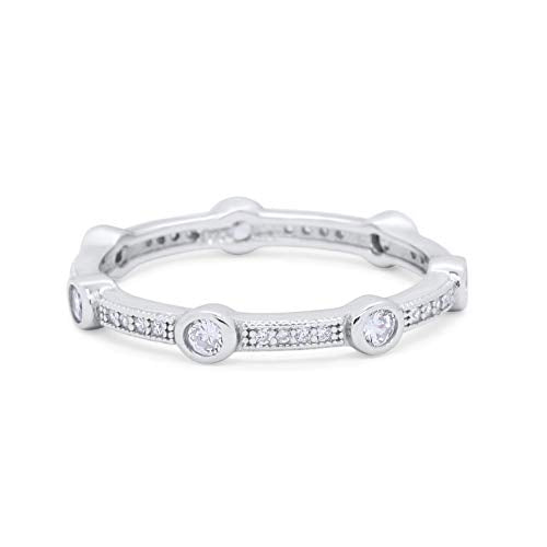 Art Deco Wedding Eternity Ring Round Simulated Cubic Zirconia 925 Sterling Silver