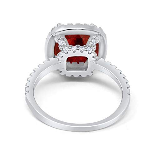 Halo Engagement Ring Accent Cushion Simulated Garnet CZ 925 Sterling Silver