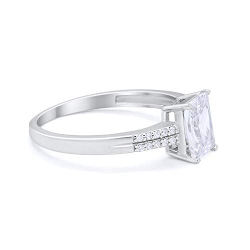 Emerald Cut Wedding Ring Simulated Cubic Zirconia 925 Sterling Silver