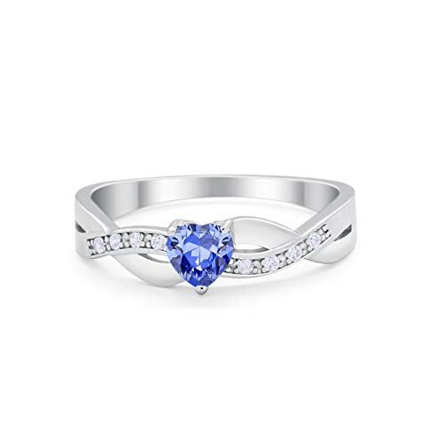Accent Heart Shape Wedding Ring Simulated Tanzanite CZ 925 Sterling Silver