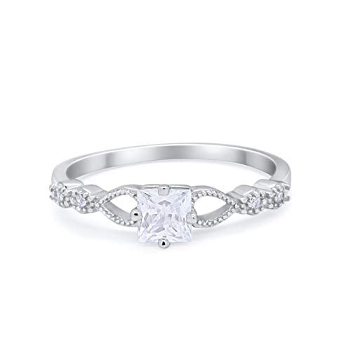 Petite Dainty Princess Cut Wedding Ring Simulated CZ 925 Sterling Silver