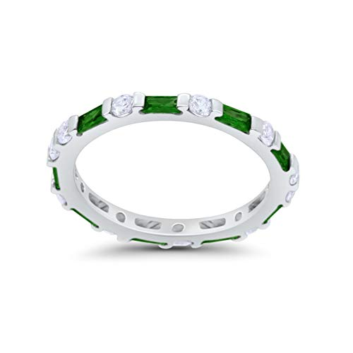 Art Deco Baguette Simulated Green Emerald Cubic Zirconia Wedding Ring 925 Sterling Silver