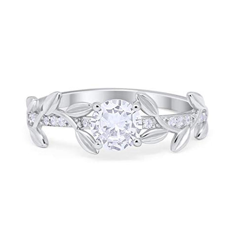 Floral Wedding Bridal Ring Simulated Cubic Zirconia 925 Sterling Silver