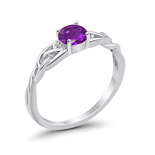 Celtic Trinity Engagement Ring Simulated Amethyst CZ 925 Sterling Silver