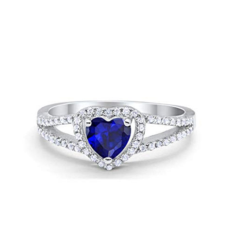 Heart Promise Ring Round Simulated Blue Sapphire CZ 925 Sterling Silver