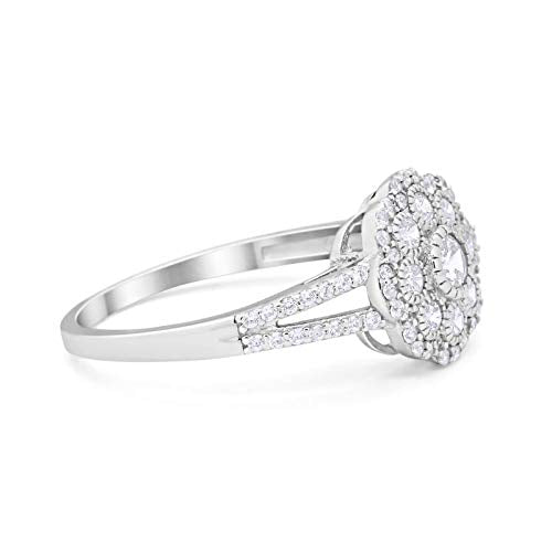 Antique Style Engagement Ring Round Simulated CZ 925 Sterling Silver