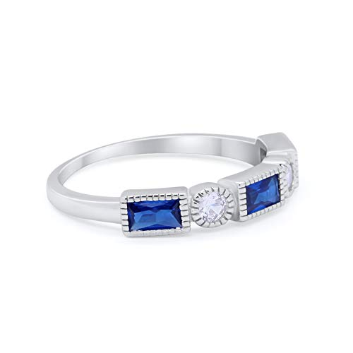 Alternating Baguette Ring Simulated Blue Sapphire CZ 925 Sterling Silver