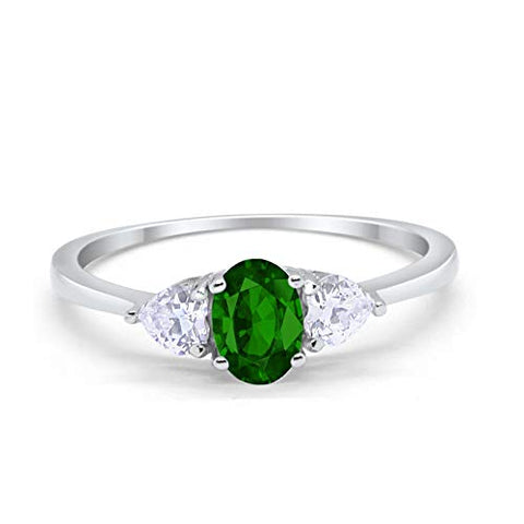 3-Stone Fashion Promise Ring Oval Simulated Green Emerald CZ 925 Sterling Silver