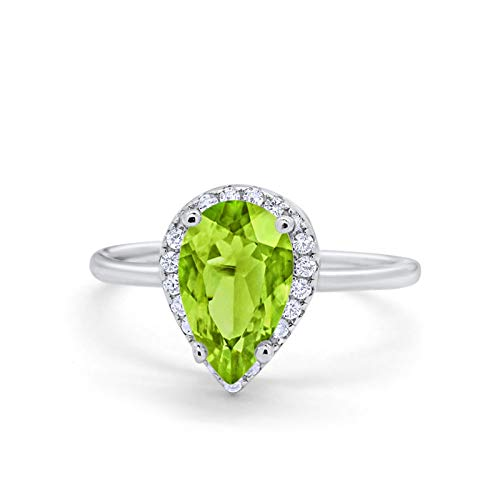 Halo Teardrop Wedding Ring Simulated Peridot CZ 925 Sterling Silver
