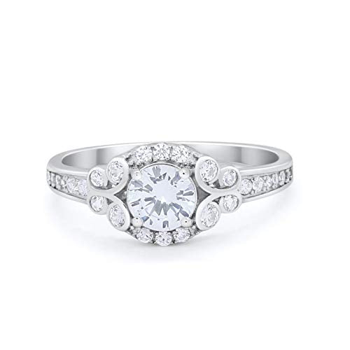 Vintage Style Wedding Bridal Ring Simulated CZ 925 Sterling Silver